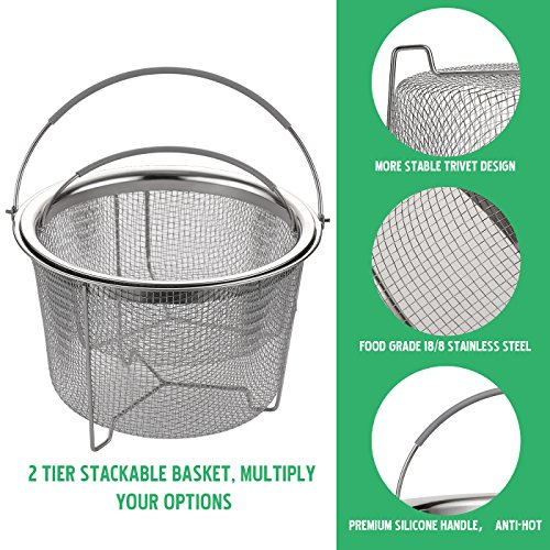 Aoizta Double Tier Stackable Steamer Basket for Instant Pot Accessories 6/8 qt, 18/8 Stainless Steel Mesh Strainer Basket for Vegetables, Eggs, Meats, etc by Aozita (Image #1)