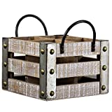 American Art Décor Rustic Wood and Galvanized Metal Square Wine Rack with Handles -Farmhouse Décor Storage For Sale