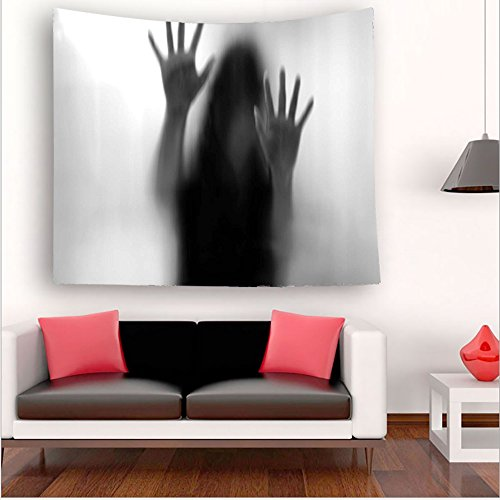 Nalahome-orror House Decor Silhouette of Woman behind the Veil Scared to Death Obscured Paranormal Photo Gray tapestry psychedelic wall art tapestry hanging 35.4W x 35.4L Inches 59W x 59L Inches by Nalahome