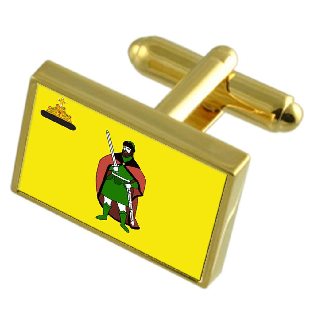 Ryazan City Russia Gold-tone Flag Cufflinks Engraved Box