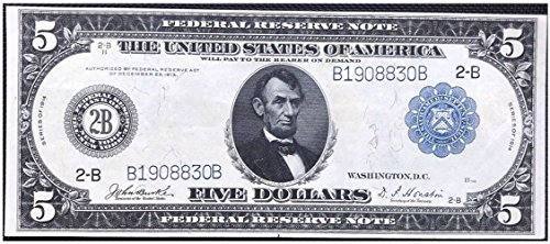 Banknote Federal Reserve (1914 2-B (New York) LARGE SIZE NEW YORK FEDERAL RESERVE NOTE w LINCOLN, COLUMBUS, PILGRIMS LANDING (LOOKS GEM) $5 Extra Choice Crisp AU-CU)