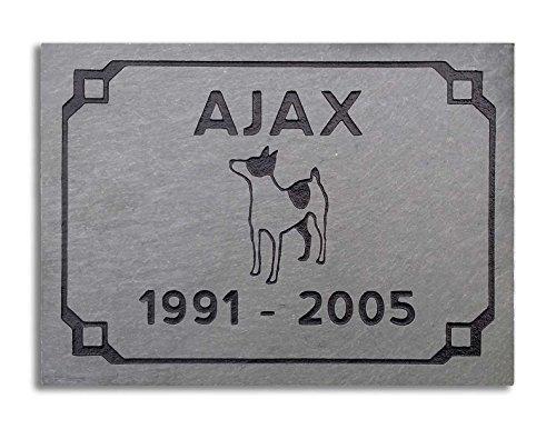 Vermont Slate 6 x 8 Tile Pet Memorial - Art Deco Design