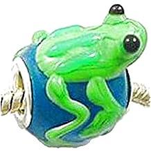 Charm Buddy Girls' Handmade Blue Green Glass Frog Charm Fits Pandora Bracelets Jewelry