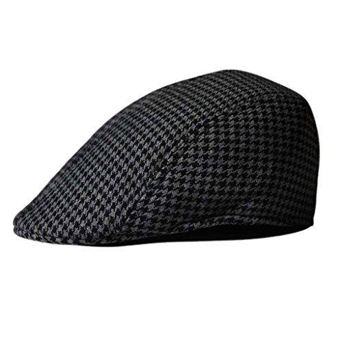 Prettyia Kids Child Boys Girl Flat Cap Tweed Check Herringbone Newsboy Peaky One Size Hat - Black+Grey, as Describe