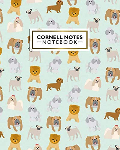 Cornell Notes Notebook: Large Cornell Note Paper Notebook - College Ruled Medium Lined Journal Note Taking System for School and University - Cute Bulldog, Dakel & Fluffy Chow Chow