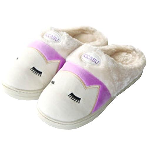 Azbro Mujer Zapatillas Pantuflas Antidesalizante Estampado de Gato Punta Redonda: Amazon.es: Zapatos y complementos