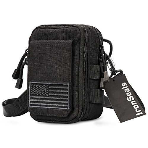 IronSeals First Aid EMT Pouch, Multipurpose Tactical Nylon Molle Utility IFAK Pouch Waist Bag Holster Combo Detachable Strap with US Flag Patch for iPhone X/XS/XR Samsung S10/Note 9 ()
