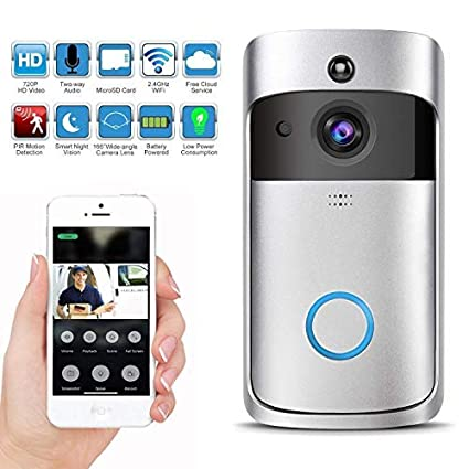 Wireless Video Doorbell with LED Ring Button HD Wifi Camera with Real-time  Video, Two-Way Talk, Night Vision, PIR Motion Detection, SD Card IOS