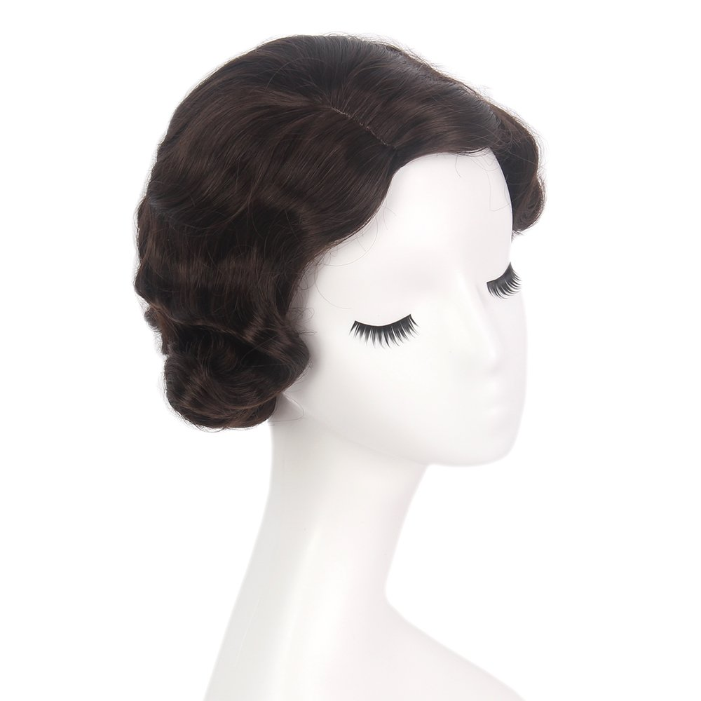 STfantasy Finger Wave Wig Brown Bob Short Curly for Women Cosplay Party Costume Hair 12'' by STfantasy (Image #3)
