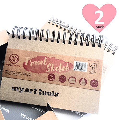 """My Art Tools Art Supplies Artists Sketch Books (Pack of 2 Pads) 6 X 8 """" , 150lb/220gsm , total 60 Sheets of 120 drawing pages for School Supplies - Acid Free , Archival, FSC and eco friendly from My Art Tools"""