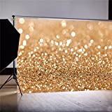 7 ft X 5 ft Gold Glitter Sequin Backdrop,Photography Video Background Screen,Vinyl Studio Props for Party Wedding Children Newborn Birthday