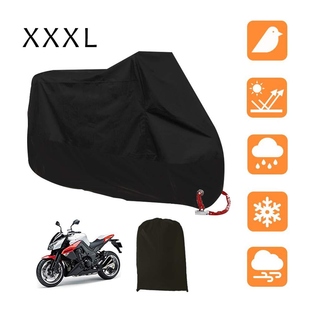 Nero e Argento LucaSng Universale Copertura del motociclo,190T Coprimoto Telo Impermeabile Antipolvere Anti UV Traspirante 2XL 245X105X125cm