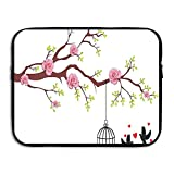XINSHOU Blossomed Roses And Flying Love Birds With Hearts And Cage Couple Laptop Sleeve Case Bag Cover For 13-15 Inch Notebook Computer 15 Inch
