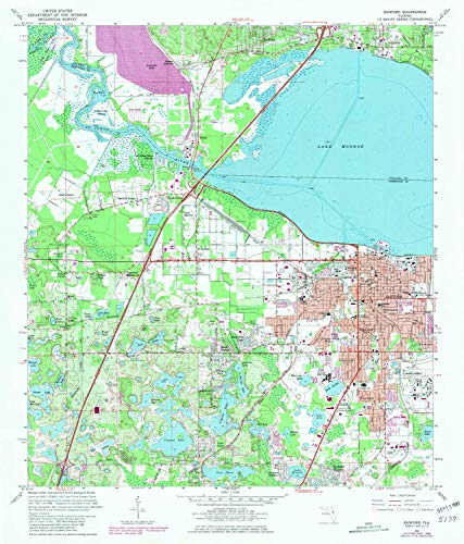 YellowMaps Sanford FL topo map, 1:24000 Scale, 7.5 X 7.5 Minute, Historical, 1965, Updated 1981, 26.8 x 22.9 in - Polypropylene