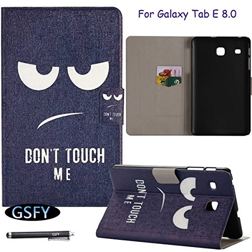 Galaxy Tab E 8.0 Case, Newshine, [Magnetic Closure] Perfect Slim Fit Flip Folio Stand Skin with Card Slots Smart Case Cover for Samsung Galaxy Tab E 8.0 T377/T375 (5 DON'T TOUCH ME) by NewShine