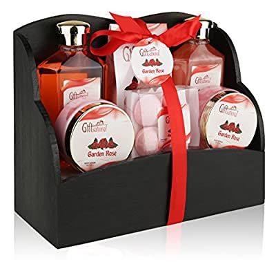 Spa Gift Basket with Heavenly Garden Rose fragrance - Gift set Includes Shower Gel, Bubble Bath, Bath Bombs Bath Salts and More! Great Wedding, Birthday, Anniversary, or Mothers Day gift for Women!
