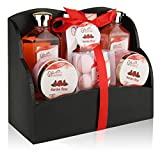 Spa Gift Basket with Heavenly Garden Rose fragrance - Gift set Includes Shower Gel, Bubble Bath, Bath Bombs Bath Salts and More! Great Mother's Day, Birthday, Anniversary, or Wedding gift for Women!