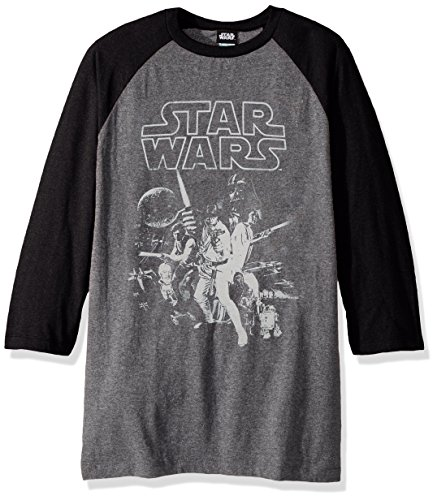 Poster Star Wars Official - Star Wars Unisex-Adult's Men's Official 'Poster' Graphic Tee, Multi/Color//Baseball el, Large