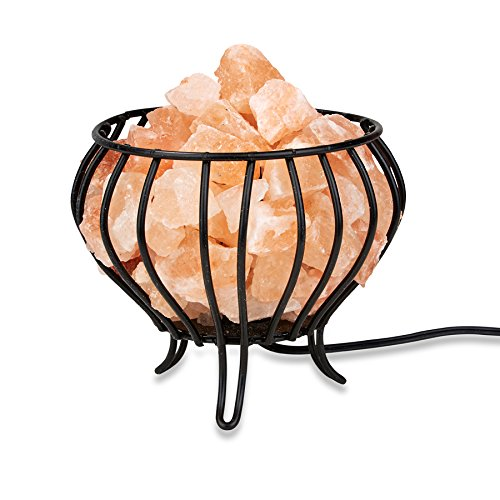 Zennery Best Glowing Hand Carved Himalayan Pink Salt Lamp Rock Crystal Wrought Iron Salt Basket Lamp - Bowl Shape and replaceable 15W bulb -UL listed 6' cord 8-10 lbs (4-5 kg) 7
