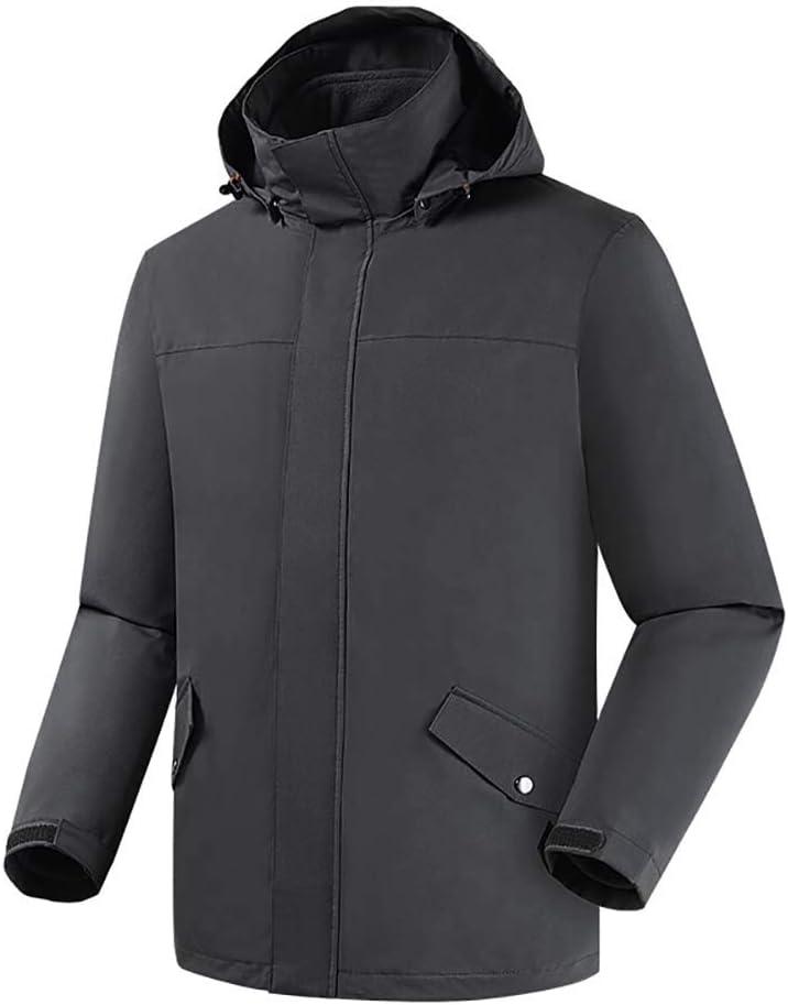 B 2XL Jackets Wasserdichte Bergjacke FüR Herren Winddicht Draussen Multi-Taschen Winter Fleece-Outwear Outdoor-Sportmantel Schwarz XL 2XL 3XL