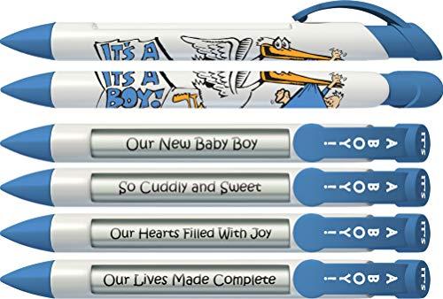 Stork Pen - Greeting Pen It's a Boy! Stork Baby Shower Favor/Birth Announcement Rotating Message 6 Pen Set 36005