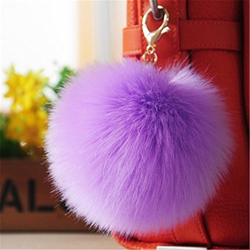 Dikoaina 2 Pieces Faux Fur Pom Pom Keychain Bag Purse Charm Pendant Gold Ring Fluffy Fox Fur Ball - Lavendar Apparel