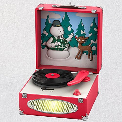 Hallmark Keepsake Christmas Ornament 2018 Year Dated, Rudolph the Red-Nosed Reindeer Record Player With Music and Light (Rudolph The Red Nosed Reindeer Christmas Decorations)