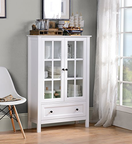 Homestar Miranda Caninet with 2-Doors & 1-Drawer Glass, White Two Doors One Drawer