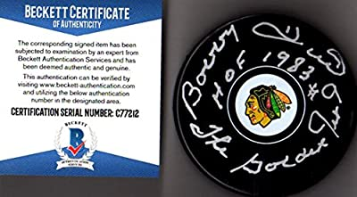 "Beckett BAS Bobby Hull #9 ""HOF 1983"" & ""The Golden Jet"" Autographed Signed Chicago Blackhawks Puck"