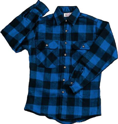 Extra Heavyweight Brawny Plaid Flannel Shirt (4X-Large, Blue) ()