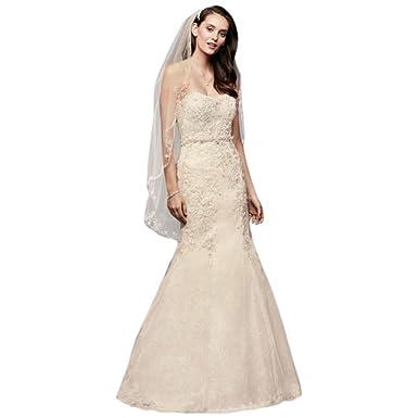 David\'s Bridal Corset Back Beaded Lace Mermaid Wedding Dress Style ...