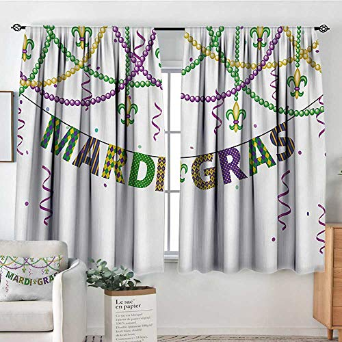 Print Pattern Curtains Mardi Gras,Festive Design with Fleur De Lis Icons Hanging from Colorful Beads,Purple Green Yellow,for Room Darkening Panels for Living Room, Bedroom 42