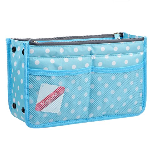 Vercord Updated Purse Handbag Organizer Insert Liner Bag in Bag 13 Pockets Blue Dot Medium (Dot Zip Purse)