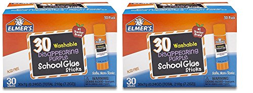 Stick Glue Elmers (Elmers Purple Disappearing School Glue Stick (60-PACK (7g)))