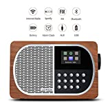 LEMEGA M2+ Table Smart Radio Wi-Fi, Internet Radio, Spotify, Bluetooth, DLNA, FM Radio, Clock, Alarms, Presets Wireless App...