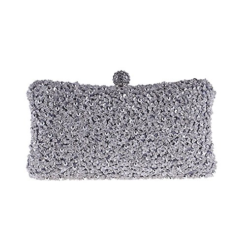 Beaded KERVINFENDRIYUN Bag Clutch Handbag Gold Dress Wedding Evening Purse Bag Color Party Silver FdxUq1Hx
