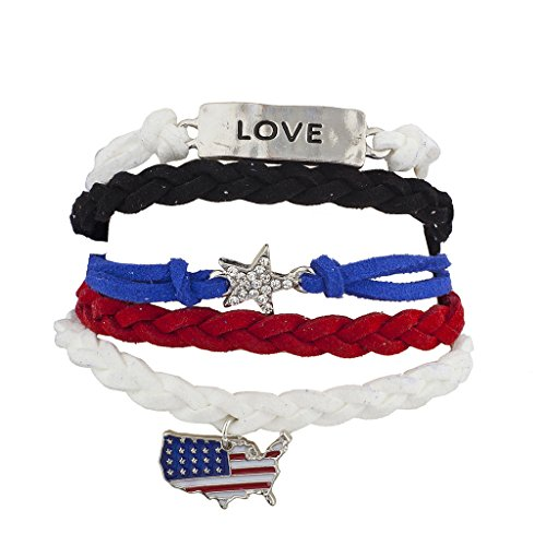 [Lux Accessories 4th of July Independence Day Americana Flag Arm Candy Set (5PCS)] (Arm Candy Costume)