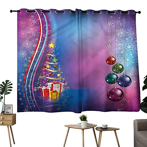 Thermal Insulated Drapes for Kitchen/Bedroom Christmas Party Celebration Box Durable W72 xL45 Suitable for Bedroom Living Room Study,etc ()