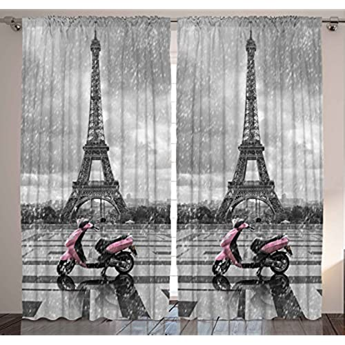 Ambesonne Grey Curtains Eiffel Tower Decor By Paris Scene Gray And Pink Monochrome Bedroom Living For Kids Girls Boys Dining Room Drapes 2