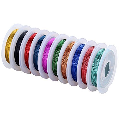 Navifoce Versatile Colorful Bare Copper Wire Making Beading Jewelry Wire,0.3mm,10m Length Colored Wire Jewelry