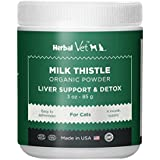 Certified Organic Milk Thistle Powder for Cats and Dogs - Easy to Mix with Wet or Dry Food- Promotes Healthy Liver Function and Detox for Pets (3 OZ for Cats)