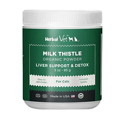 Certified Organic Milk Thistle Powder for Cats and Dogs - Easy to Mix with Wet or Dry Food- Promotes Healthy Liver Function and Detox for Pets (3 OZ for Cats) (Best Dog Food For Dogs With Liver Disease)
