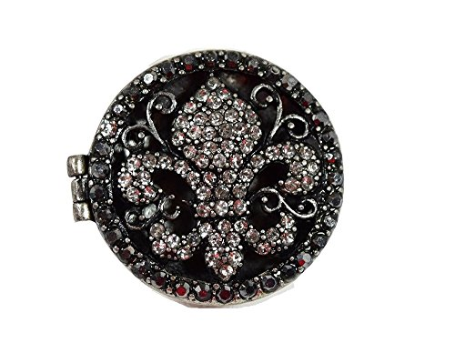 [Gothic Steampunk Crystal Fleur De Lis Chunky Locket Fashion Ring] (Gothic China Doll Costume)