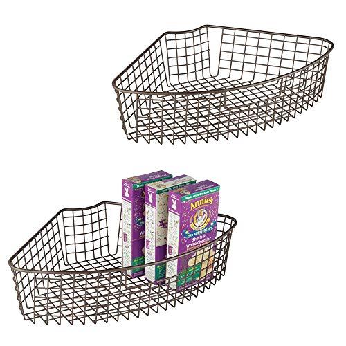 mDesign Farmhouse Metal Kitchen Cabinet Lazy Susan Storage Organizer Basket with Front Handle - Medium Pie-Shaped 1/4 Wedge, 4.2 Deep Container - 2 Pack - Bronze