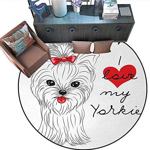 Yorkie Round Floor Cover I Love My Yorkie Cute Terrier with its Tounge Out Adorable Yorkshire Terrier Door mat Indoors Bathroom Mats Non Slip (55