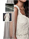 Passat Pale Ivory Single-Tier 36'' Fingertip Length One Tier Mid short bridal veil with Heavy Beaded Design DB19