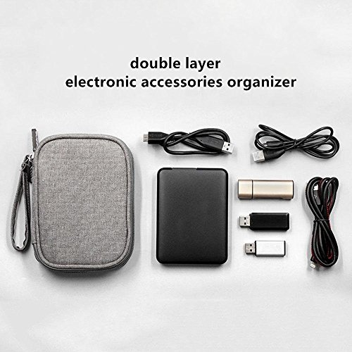 Honeystore Universal Double Layer Travel Gear Organizer Portable Electronic Accessories Storage Case Gadgets Organizer Bag for iPad Mini, USB Cable, Plug, Flash Drive, Charger, Earphone and More Black by Honeystore (Image #5)'