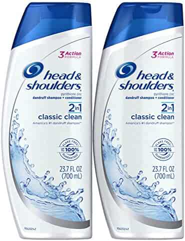 Head and Shoulders Classic Clean 2-in-1 Anti-Dandruff Shampoo and Conditioner 23.7 Fl Oz (Pack of 2)