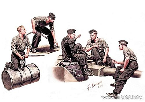 GERMAN TANKMEN, WWII ERA 5 FIGURES WITH FUEL BARREL 1/35 MASTER BOX 35160 FREE (Master Box Ltd)