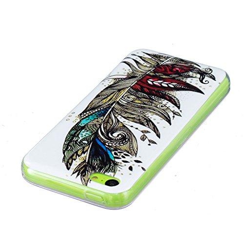 Coque iPhone 5C, IJIA Ultra-mince Transparent Noctilucent Plume TPU Doux Silicone Bumper Case Cover Shell Skin Housse Etui pour Apple iPhone 5C + 24K Or Autocollant